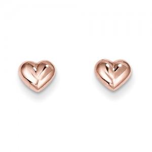 Rose 14 Karat Heart Stud Earrings