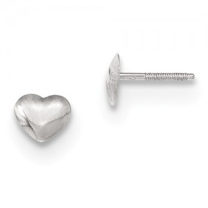 14Kwg Heart Screw Back Earrings