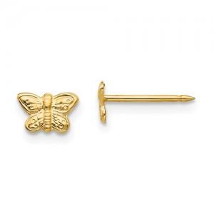 Yellow 14 Karat 7Mm Butterfly Earrings