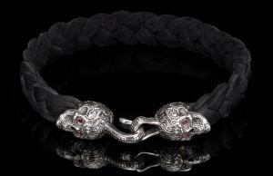 William Henry Black Leather Sterling Silver Bracelet