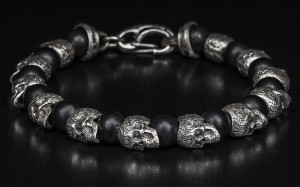 William Henry Black Sterling Silver Bracelet With Frosted Black Onyx