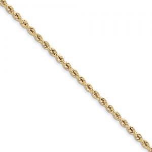 Yellow 14 Karat 10 Inch Rope Anklet