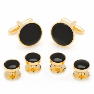 Gold Plated Onyx Stud/Cufflink Set