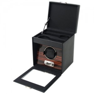 Wolf: Single Watch Rotator With Storage In Ebony With Dark Wood Background