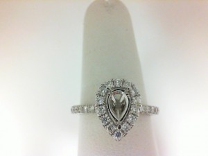 White 14 Karat Semi Ring Size 6.5 With 34=0.50Tw Round Diamonds