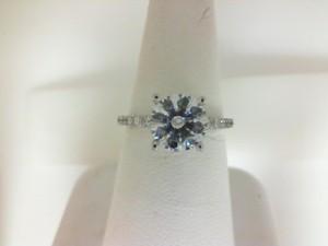 White 18 Karat Semi Mount Ring Size 6.5 With 0.25Tw Round Diamonds