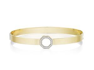 Phillips House: 14 Karat  Yellow Gold  Hero Open Octagon 5mm Hammered Bangle Bracelet With 24=0.11Tw Round Diamonds  Length: 8