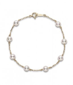 Yellow 18 Karat Bracelet With 8=5.00-5.50Mm Round Pearls Tin Cup