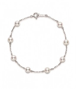 18 Karat White Gold 5 To 5.5 Mm White Pearl Tin-Cup Bracelet - 7 Inch