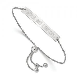 Sterling Silver Bracelet Name: Tampa Bay Lightning Small Bar Length: Adjustable