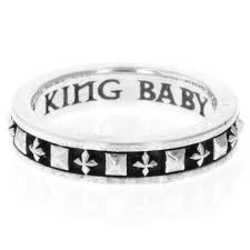 King Baby: Sterling Silver Ring Stackable Studded Cross Ring