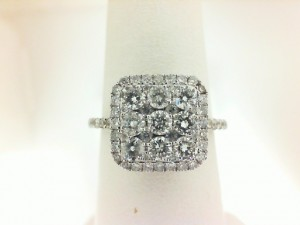 White 14 Karat Ring With 63=1.17Tw Round Diamonds
