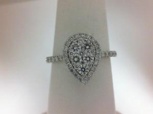 14 Karat White Gold Ring With 47=0.74Tw Round Diamonds