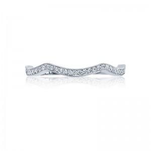 Tacori:  18 Karat White Gold Ribbon Wedding Band With 0.15Tw Round Diamonds Ring Size: 6.5