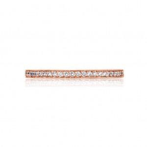 Tacori: 18 Karat Rose Gold Sculpted Crescent Milgrain Wedding Band With 0.17Tw Round Diamonds Ring Size: 6.5