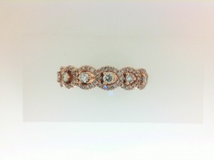 14 Karat Rose Gold  Band With 87=0.56Tw Round Diamonds Ring Size: 6.5