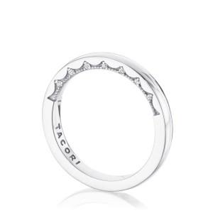 Tacori: 14 Karat White Gold Coastal Crescent Wedding Band With 14=0.06Tw Round Diamonds Ring Size: 6.5