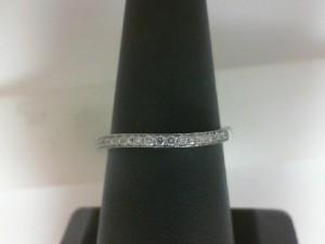 14 Karat White Gold  Curved Wedding Band With 0.15Tw Round Diamonds
