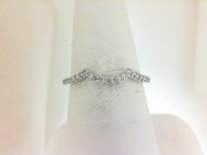14 Karat White Gold Wedding Band With 0.12Tw Round Diamonds