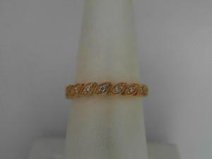 14 Karat Yellow Gold Milgrain Wedding Band With 9=0.08Tw Round Diamonds Ring Size: 6.5