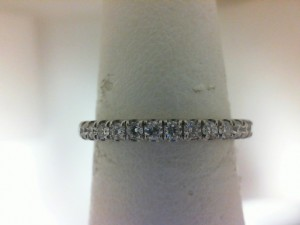 White Gold 14 Karat Estate Band With 19=0.30Tw Round Diamonds