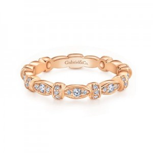Gabriel & Co:14 Karat Rose Gold Geometric Stackable Diamond Ring .30Tw