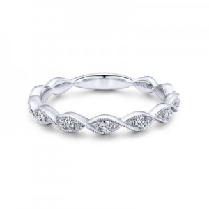 Gabriel & Co: 14 Karat White Gold Twisted Diamond 0.14Tw Stackable Ring