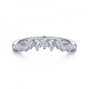 Gabriel & Co: 14 Karat White Gold Curved Diamond Anniversary Band 0.35Tw