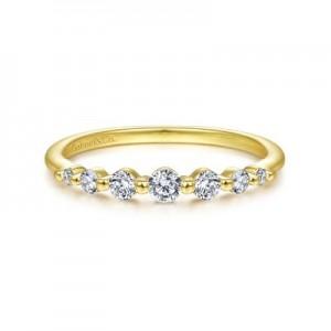 Gabriel & Co: 14 Karat Yellow Gold Diamond Anniversay Band 0.25 Ct