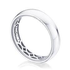 Tacori: 14 Karat White Gold Coastal Crescent Wedding Band With 0.01Tw Round Diamonds Ring Size: 10
