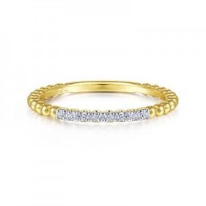 14 Karat Yellow/White  Bujukan Stackable Fashion Ring With 8=0.06Tw Round Diamonds Ring Size: 6.5