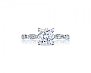 Tacori: 18 Karat White Gold Sculpted Crescent Semi-Mount Ring With .15Tw Round Diamonds For 6.5mm Center