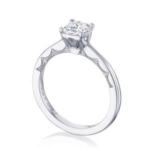 Tacori: 14 Karat White Coastal Crescent Semi-Mount Ring With .06Tw Round Diamonds For 5.5mm Center
