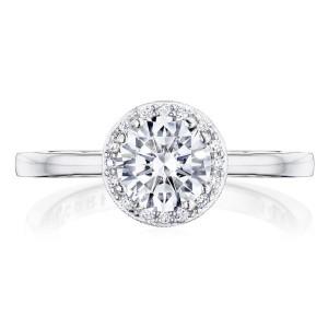 Tacori: 14 Karat White Gold Coastal Crescent Semi-Mount Ring With .15Tw Round Diamonds For 6mm Center