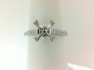 Natlie K: 18 Karat White Gold Semi-Mount Ring With 20=0.17Tw Round Diamonds