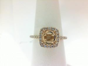 14 Karat Yellow Gold Cushion HaloSemi-Mount Ring With 40=0.33Tw Round Diamonds