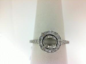 Natalie K: 14 Karat White Gold Halo Semi-Mount Ring With 34=0.33Tw Round Diamonds