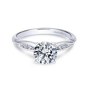Gabriel & Co: 14 Karat White Gold  Semi-Mount Ring With 6=0.09Tw Round G/H Si1-2 Diamonds Ring  Size 6.5