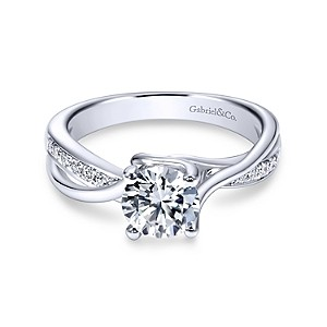 Gabriel & Co: 14 Karat White Gold Twisted Semi-Mount Ring With 14=0.14Tw Round G/H Si1-2 Diamonds Ring Size 6.5 Center Size: 6.5mm