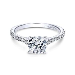 Gabriel & Co: White 14 Karat Semi Mount Ring With 20=0.29Tw Round G/H Si1-2 Diamonds