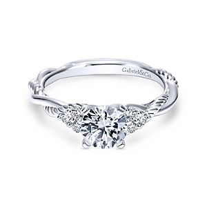 Gabriel & Co: 14 Karat White Gold Twisted Semi-Mount Ring With 6=0.13Tw Round G/H Si1-2 Diamonds Ring Size 6.5 Center Size: 6.5mm