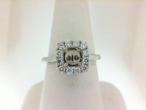 Natalie K: 14 Karat  White Gold Semi-Mount Ring With .35Tw Round Diamonds