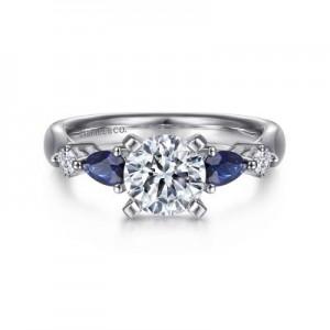 Gabriel & Co: 14 Karat White Gold Semi-Mount With 2=0.59Tw Pear Sapphires And 2=0.10Tw Round G/H SI1-2 Diamonds