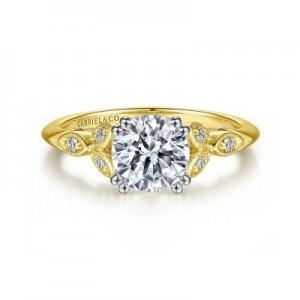 Gabriel & Co:14 Karat White-Yellow Gold Victorian Diamond Semi-Mount Ring 0.07Tw