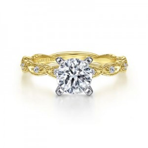 Gabriel & Co: 14 Karat Yellow Gold Engraved Semi-Mount With 10=0.12Tw Round G/H SI1-2 Diamonds