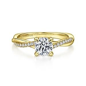 Gabriel & Co: 14 Karat Yellow  Gold Round Twisted Diamond Engagement Ring 0.15Tw