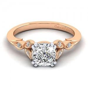 Gabriel & Co: 14 Karat White/Rose Gold Victorian Milgrain Semi-Mount Ring With 0.07Ctw Size 6.5 Center Size: 6.5 mm