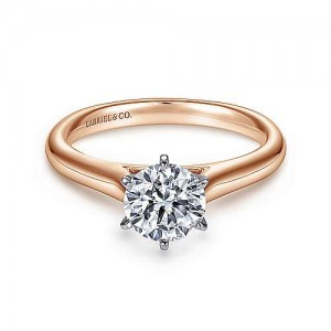 Gabreil & Co:14 Karat White/Rose Solitaire Semi-Mount Ring With Euro- Shank Size 6.5 Center Size: 1Ct