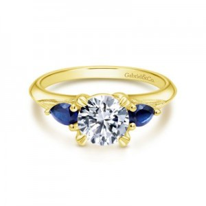 Gabriel & Co:14 KaratYellow Gold  Semi-Mount Ring Size 6.5 With 2=0.35Tw Pear Sapphires Center Size: 6.5