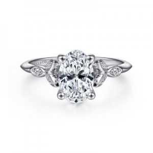 Gabriel & Co:14 Karat White Gold  Semi-Mount Ring Size 6.5 With 6=0.07Tw Round G/H Si1-2 Diamonds
